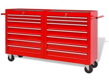 Chariot à outils pour atelier 14 tiroirs Taille XXL Acier Rouge - vidaXL