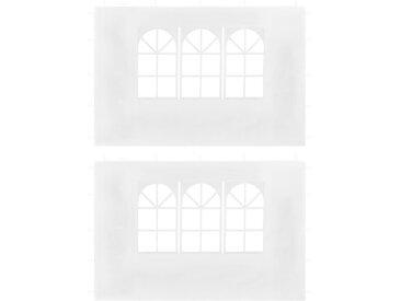Parois latérales de tente de réception 2 pcs avec fenêtre Blanc - vidaXL