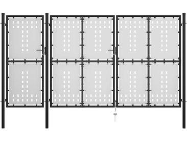 Portail de jardin Acier 400 x 150 cm Noir - vidaXL