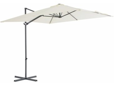 Parasol en porte-à-faux avec mât en acier 250 x 250 cm Sable - vidaXL