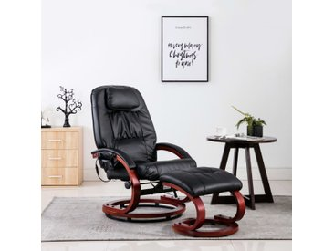 Fauteuil de massage avec repose-pieds Noir Similicuir - vidaXL