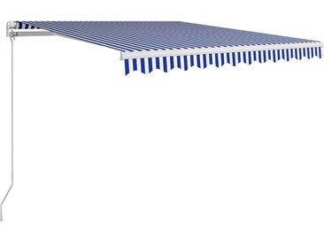 Auvent manuel rétractable 300x250 cm Bleu et blanc - vidaXL