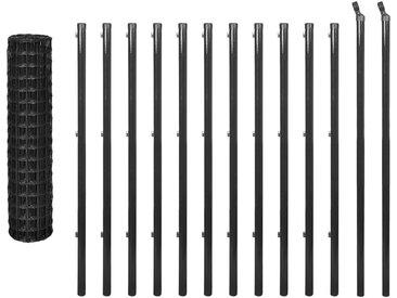 Ensemble de clôture Euro 25 x 1,2 m Acier Gris - vidaXL
