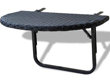 Table de balcon 60x60x32 cm Noir Résine tressée - vidaXL