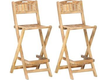 Chaises de bar de jardin pliables 2 pcs Bois de manguier solide - vidaXL