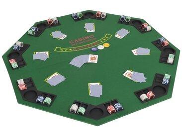 Dessus de table de poker pour 8 joueurs 2 plis Octogonal Vert - vidaXL
