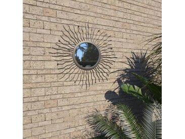 Miroir mural de jardin Rayons de soleil 60 cm Noir - vidaXL