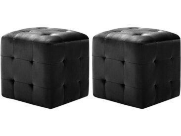 2 pcs Poufs Noir 30 x 30 x 30 cm Tissu velours - vidaXL