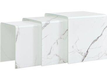 Tables gigognes 3 pcs Blanc Marbre 42x42x41,5 cm Verre trempé  - vidaXL