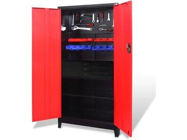 Armoire avec coffre à outils Acier 90x40x180 cm Rouge et noir - vidaXL