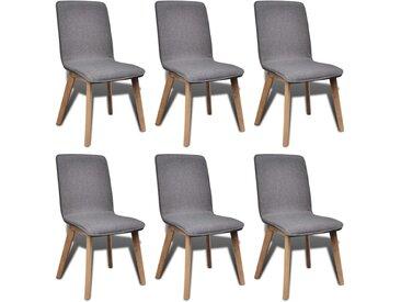 6pcs Chaises de salle à manger Gris clair Tissu et chêne massif  - vidaXL