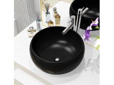 Lavabo rond Céramique Noir 40 x 15 cm - vidaXL