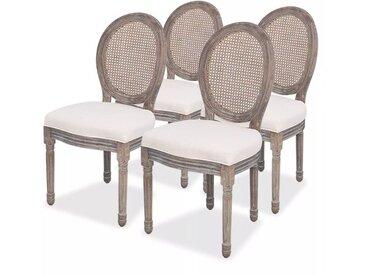 Chaises de salle à manger 4 pcs Crème Tissu - vidaXL