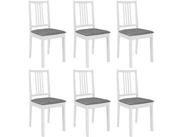 6 pcs Chaises à dîner avec coussins Blanc Bois solide - vidaXL