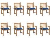 Chaises de jardin 8 pcs avec coussins bleu royal Bois de teck - vidaXL