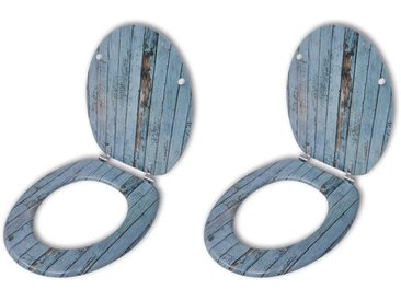 Sièges de toilette avec couvercles à fermeture dure 2 pcs MDF - vidaXL