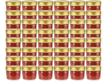 48 pcs Pots à confiture avec couvercle doré Verre 110 ml - vidaXL