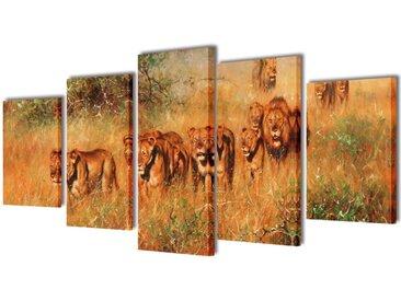 Set de toiles murales imprimées Lions 200 x 100 cm - vidaXL