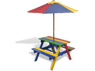 Table et bancs de pique-nique avec parasol pour enfants Bois - vidaXL