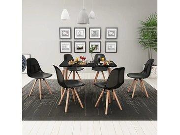 Ensemble de table et de chaises de salle à manger 7 pcs Noir - vidaXL