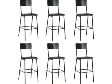 Chaises de bar 6 pcs Noir Contreplaqué solide et acier - vidaXL