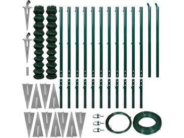 Clôture à mailles et piquets d'ancrage 1,97 x 25 m Vert - vidaXL