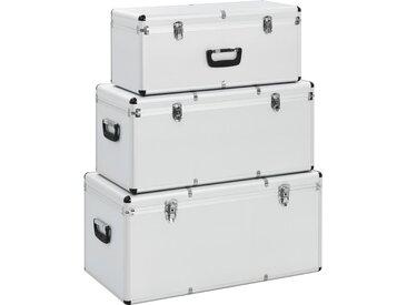 Boîtes de rangement 3 pcs Argenté Aluminium - vidaXL