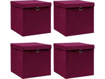 Boîtes de rangement 4 pcs Rouge foncé 32x32x32 cm Tissu - vidaXL