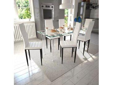 Lot de 6 chaises blanches aux lignes fines avec une table en verre - vidaXL