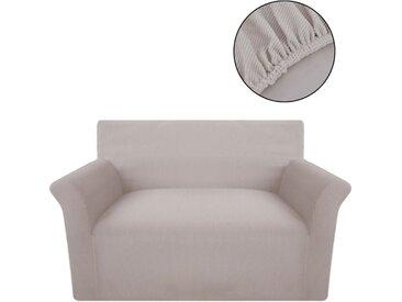 Housse extensible de canapé Beige Tissu en polyester nervuré  - vidaXL