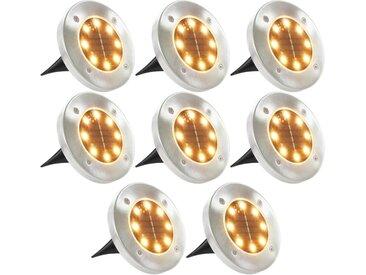 Lampe solaire de sol 8 pcs Lumière LED Blanc chaud - vidaXL