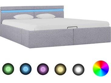 Cadre de lit à stockage avec LED Gris clair Tissu 160x200 cm  - vidaXL