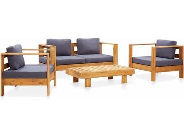 Salon de jardin 4 pcs avec coussins Gris Bois d'acacia solide - vidaXL