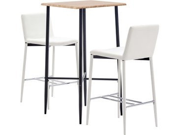Ensemble de bar 3 pcs Similicuir Blanc - vidaXL