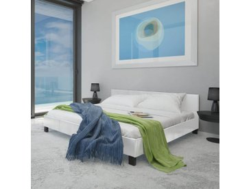 Lit avec matelas 180 x 200 cm Cuir artificiel Blanc  - vidaXL