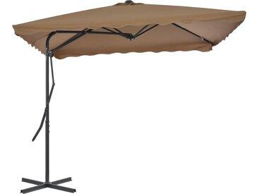Parasol d'extérieur avec poteau en acier 250 x 250 cm Taupe - vidaXL
