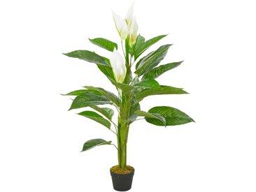 Plante artificielle Anthurium avec pot Blanc 115 cm - vidaXL