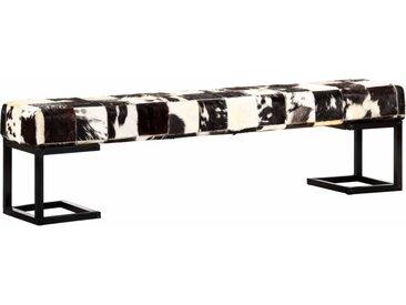 Banc 160 cm Noir Patchwork Cuir véritable de chèvre - vidaXL