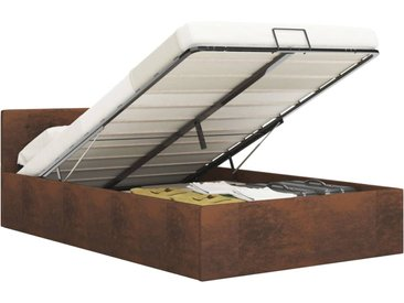 Cadre de lit à rangement hydraulique Marron Tissu 160x200 cm - vidaXL