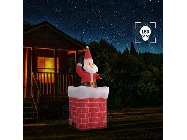 Père Noël en cheminée Mouvement automatique LED IP44 180 cm - vidaXL
