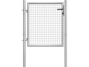 Porte de jardin Acier galvanisé 105x125 cm Argenté - vidaXL