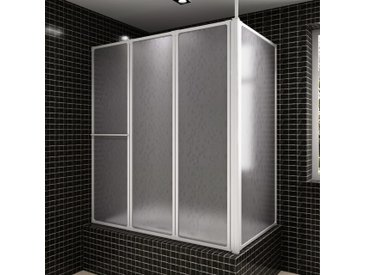 Pare baignoire en L à 4 volets rétractables avec porte-serviettes - vidaXL