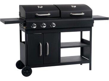Barbecue gril combo à gaz et au charbon avec 3 brûleurs - vidaXL