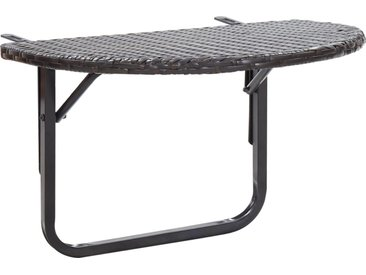 Table de balcon Marron 60x60x50 cm Résine tressée - vidaXL