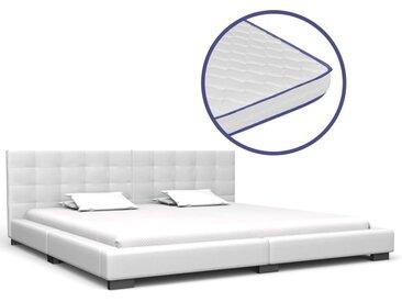 Lit avec matelas à mémoire de forme Blanc Similicuir 180x200 cm - vidaXL