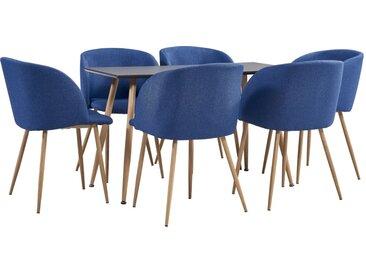 Ensemble de salle à manger 7 pcs Tissu Bleu - vidaXL