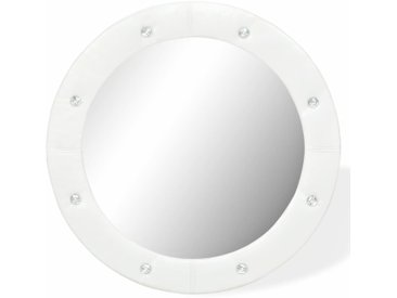 Miroir mural Cuir artificiel 60 cm Blanc brillant - vidaXL