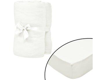 Drap-housse pour lit à eau 2pcs 1,6x2m Coton jersey Blanc cassé - vidaXL