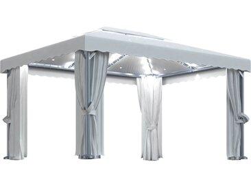 Tonnelle avec rideau et guirlande lumineuse 4x3 m Blanc crème - vidaXL
