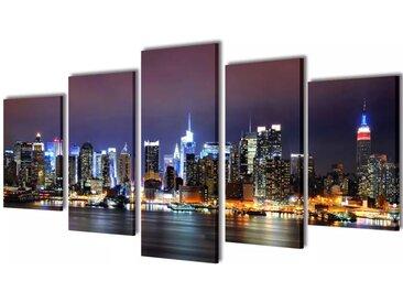 Set de toiles murales imprimées Horizon de New York coloré 200 x 100cm - vidaXL